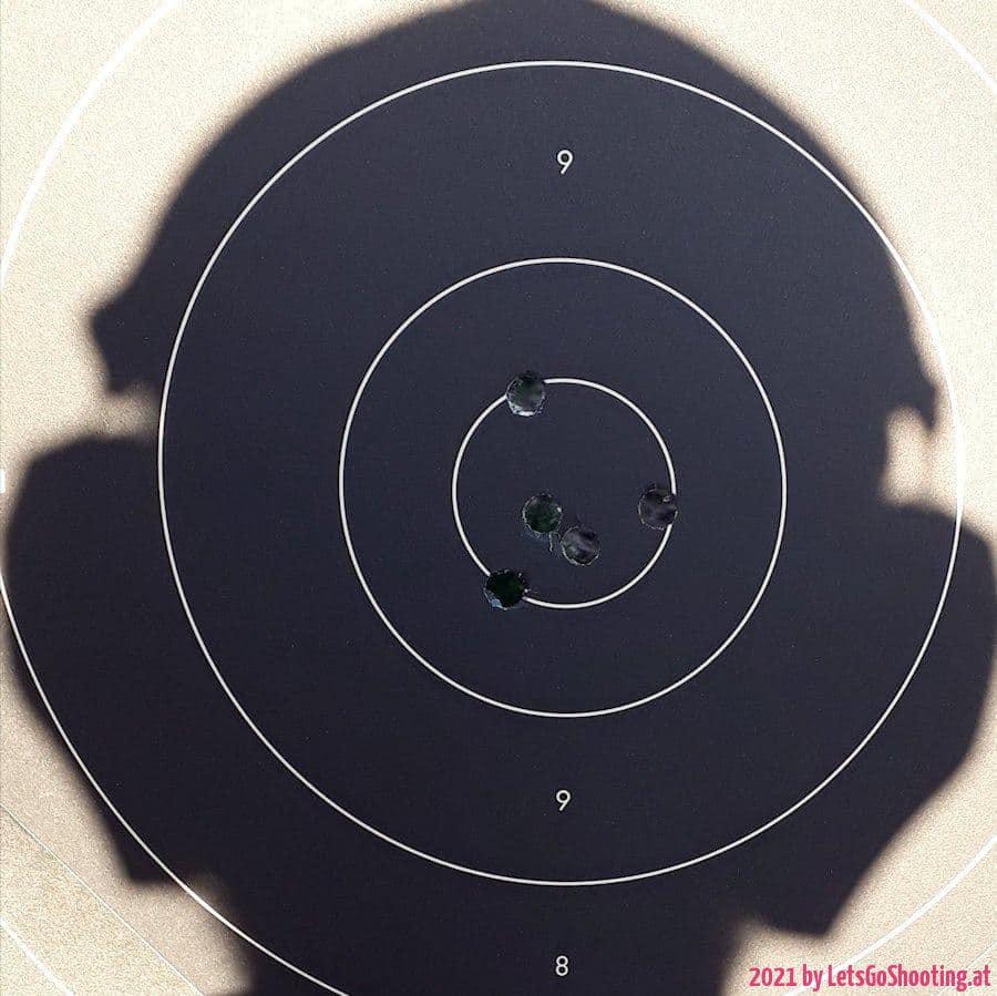 Schnellfeuerscheibe, Distanz 25m, S&B 148gr Wadcutter