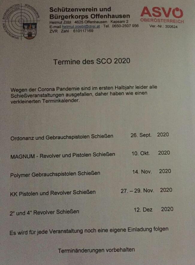 neue FFW Schiessbewerbe in OÖ, Update 28/09/20